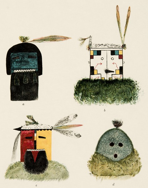 Native drawings of Santo Domingo masks (The North American Indian, v. XVI. Norwood, MA, The Plimpton Press,  1926)