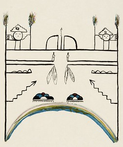 Wall-painting for the summer Shiwanna ceremony - Santo Domingo (The North American Indian, v. XVI. Norwood, MA, The Plimpton Press,  1926)