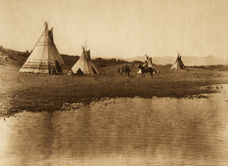Assiniboin camp near the Rocky Mountains (The North American Indian, v. XVIII. Norwood, MA, The Plimpton Press,  1928)
