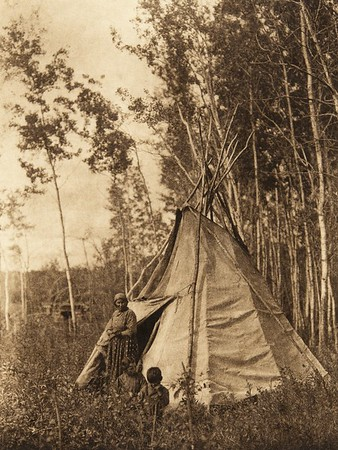 Camp among the aspens - Chipewyan (The North American Indian, v. XVIII. Norwood, MA, The Plimpton Press,  1928)