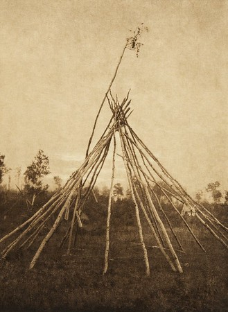 Frame of the sponsor's tipi, Cree sun-dance (The North American Indian, v. XVIII. Norwood, MA, The Plimpton Press,  1928)
