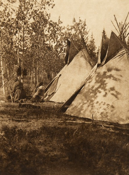 Assiniboin camp on Bow River (The North American Indian, v. XVIII. Norwood, MA, The Plimpton Press,  1928)