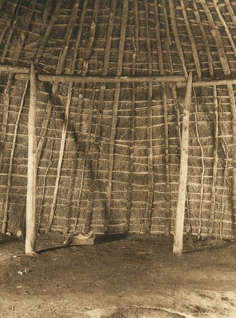 Interior of Wichita grass-house (The North American Indian, v. XIX. Norwood, MA, The Plimpton Press,  1930)