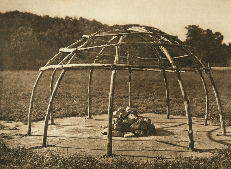 Frame of peyote sweat-lodge (The North American Indian, v. XIX. Norwood, MA, The Plimpton Press,  1930)