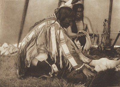 "Huka-Lowapi - ""Work-Do Removes the Covering"" [Sioux] (Indians of North America, v. III. Cambridge, MA: The University Press, 1908)"