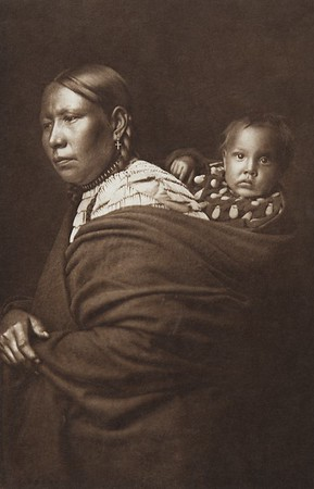 Mother and Child [Sioux] (Indians of North America, v. III. Cambridge, MA: The University Press, 1908)