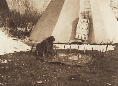 Hide Scraping - Apsaroke (Indians of North America, v. IV. Cambridge, MA: The University Press, 1909)