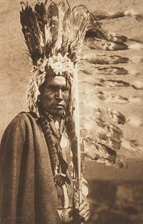 Piegan War-Bonnet and Coup-Stick (The North American Indian, v. VI. Cambridge, MA: The University Press, 1911)