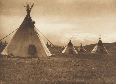 Camp in the Foothills - Piegan (The North American Indian, v. VI. Cambridge, MA: The University Press, 1911)