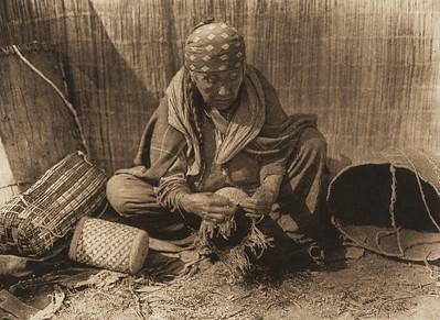 Wishham Basket Worker (The North American Indian, v. VIII. Norwood, MA: The Plimpton Press, 1911)