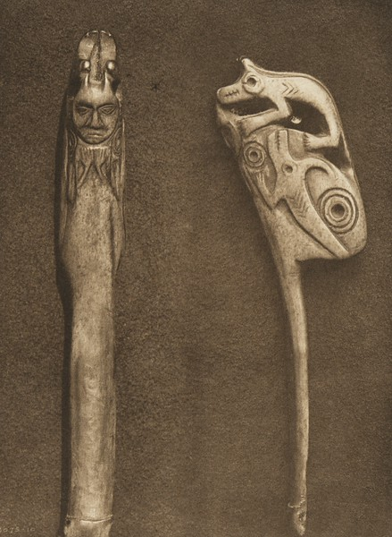 Bone Carving - Cascade (The North American Indian, v. VIII. Norwood, MA: The Plimpton Press, 1911)