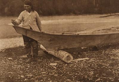 Canoe Finishing - Quinault (The North American Indian, v. IX. Norwood, MA: The Plimpton Press, 1913)