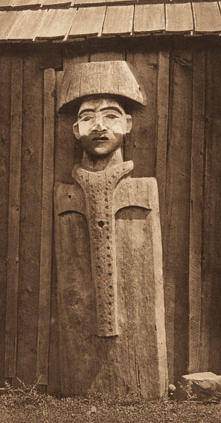 Carved Figure - Cowichan (The North American Indian, v. IX. Norwood, MA: The Plimpton Press, 1913)