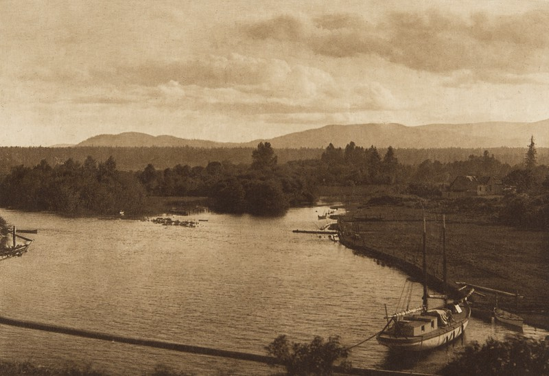 Looking Up Cowichan River (The North American Indian, v. IX. Norwood, MA: The Plimpton Press, 1913)