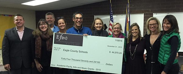 EFEC Check Presentation to ECSD Board of Education for the 2015-2016 Academic & Equity and Arts & Music Grant Program