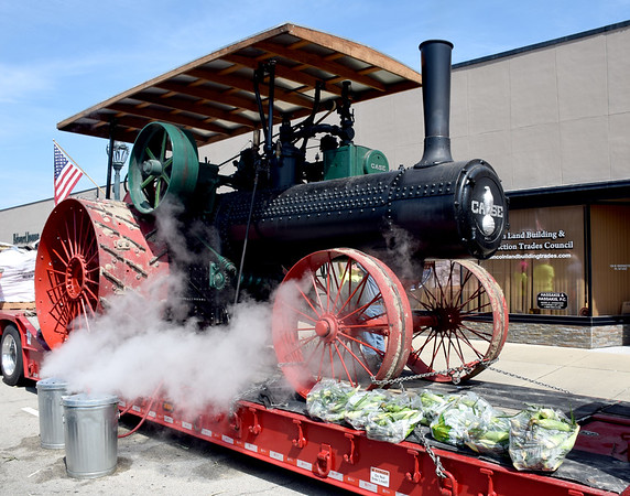 Steam powered 1923 Case tractor owned by Bill Jansen of Dieterich used to steam Schottman's sweet corn at the Kansas City Barbeque Society State Championship EffingHAM-JAM held in downtown Effingham Friday and Saturday. Charles Mills photo