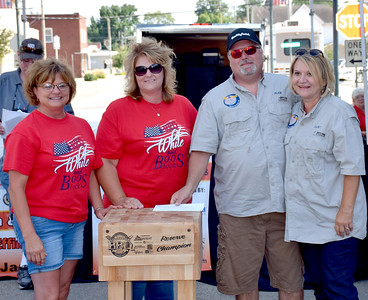 Kansas City Barbeque Society State Championship EffingHAM-JAM Reserve Champion was High on the Hawg cooking team from Fayetteville, Tennessee. Pictured from left to right, Twilla Ruholl, John Boos and Company, Connie Faught, John Boos and Company, Terry Buchanan, High on the Hawg and Brenda Buchanan, High on the Hawg. Charles Mills photo