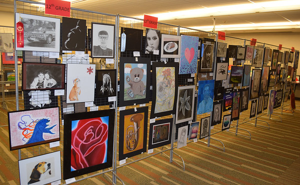 Several pieces of art work from students across Effingham County was on display this week in the basement of the Effingham public library as a part of the Effingham Art Guild Children's Art Show. Dawn Schabbing photo