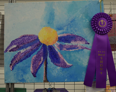 """The Flower"" an acrylic by Belle Watkins, a home schooled 8th grader won Best of Show for her age group at the Effingham Art Guild Children's Art Show. Dawn Schabbing photo"