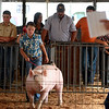 Cecilia Apke shows her grand champion swine during the 4H auction.<br /> Chet Piotrowski Jr. photo/Piotrowski Studios