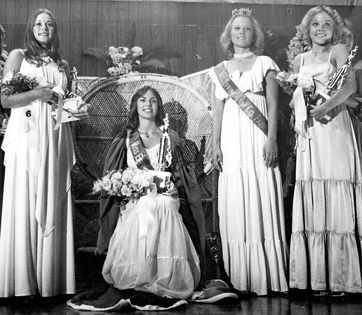 The royal court of the 1979 Effingham County Fair pictured from left to right, Arlene Kay Tipsword, first runner-up, Carol DeeAnn (Moore) Bauguss, 1979 Miss Effingham County Fair queen, Julie (Gnuse) Tappendorf, retiring queen and Sheri Linn Jose, second runner-up. EDN file photo
