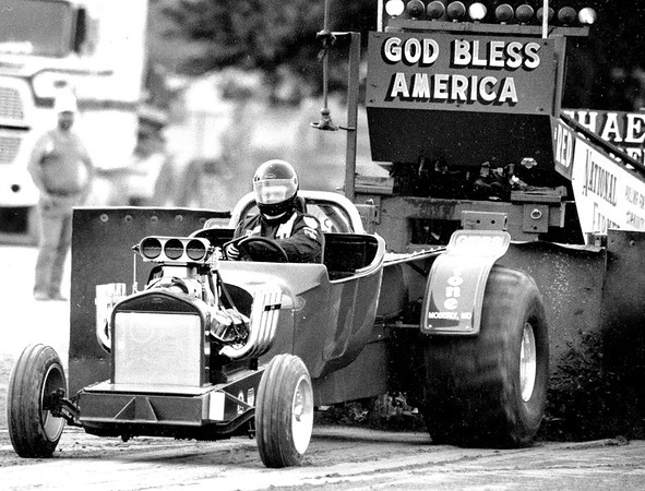 Tim Fitz of Anabel, Missouri, pilots his pulling tractor down the track during the pull-offs of the Modified Hot Rod class at the 1991 Effingham County Fair. EDN file photo