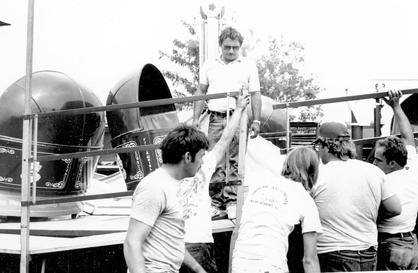 Terry Swyear helps assemble the tilt-a-whirl ride at the Effingham County Fair in August of 1991. Swyear Amusement Rides provided 15 different rides of thrills for the adventurous fairgoer. The Swyears spend several hours each day checking and making adjustments before the rides are open to the public. EDN file photo