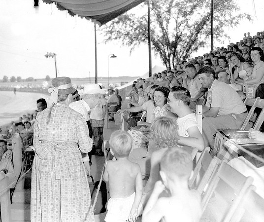 Uncle Ezra and Lenoire are attracting considerable attention in the grandstand at the 1949 Effingham County Fair. The fair board for a number of years to get Uncle Ezra at the fair and 1949 was the first time they were successful. EDN file photo