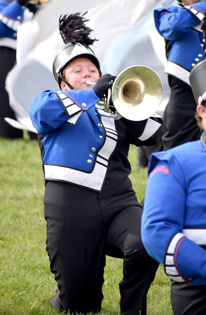 Mellophone Player Chandler Street performs for the Newton Community High School Marching Eagles during the Effingham Marching Hearts on Saturday afternoon. Charles Mills photo