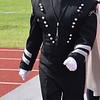 Lawrenceville High School Marching Indians Drum Major Alexis Brown leads her band off the field after their performance in the Class 2A division competition Saturday at the Effingham Marching Hearts Invitational band contest. Charles Mills photo