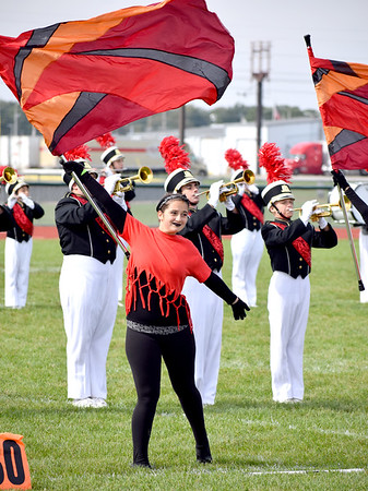 Arthur Lovington Atwood Hammond High School Marching Knights Color Guard Member Jessica Renfro holds a flag during the ALAH band performance Saturday afternoon. ALAH placed second in the Class 2A division. Charles Mills photo