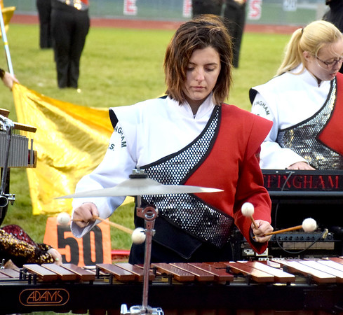 Effingham Hearts Red Regiment Vibraphonist Charlee Hayes plays during an exhibition performance Saturday during the Effingham Marching Hearts Invitational band contest held at Klosterman Field on the Effingham High School campus. Charles Mills photo