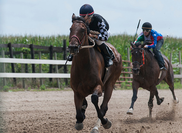 Noah Cruz races Friday during the 4th thoroughbred race at the Effingham County Fair in Altamont.  Cruz won 5 of 7 races, making him the champion of the track.  | Photo by Alexa Rogals