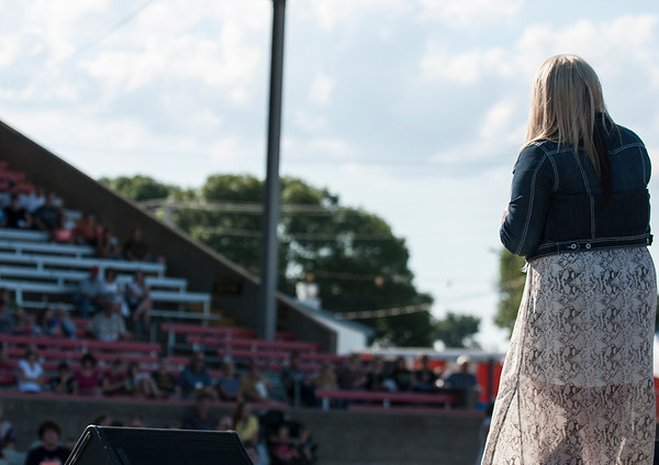 Kelsey Fulk sings as the opening act for the Effingham County Fair Talent Show Saturday.  Fulk was the winner of the 2012 Senior Division. | Photo by Alexa Rogals