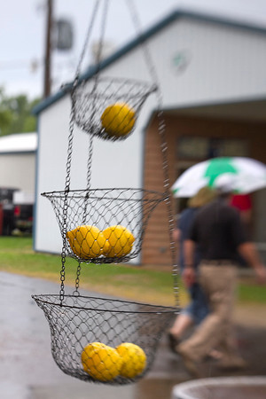 Water droplets cover the outside of food stands at the Effingham County Fair Friday. The opening evening was wet, but still successful. | Photo by Cassie Porter