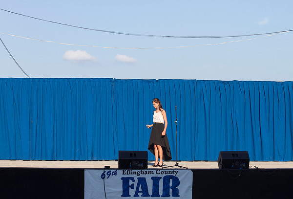 "Rachel Probst of Effingham takes the stage Saturday during the Effingham County Fair Talent Show. Probst sang ""Jesus Take The Wheel"" in the Senior Division. 
