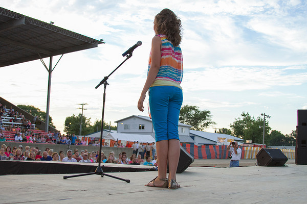 Libby Feldhake, 13, of Dieterich, shows off her casual attire during the Effingham County Fair Junior Miss Pageant. Feldhake was crowned the 2013 Junior Miss. | Photo by Cassie Porter