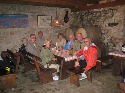Joy, Ralph & Mickey Beals, Bruce, Phyllis, Marge, Jim, and Bob enjoying local wines.