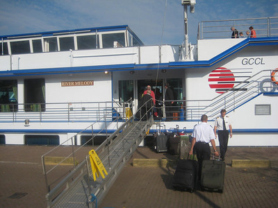 Joy boarding M/S River Melody in Amsterdam.