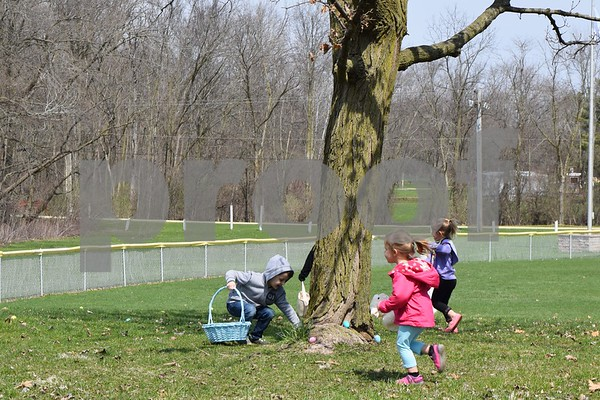 Children rush to find eggs Saturday during Hand in Hand's Easter egg hunt at Kingston Township Park.