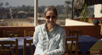 Celia en la terraza del Nile Valley Hotel. Lúxor