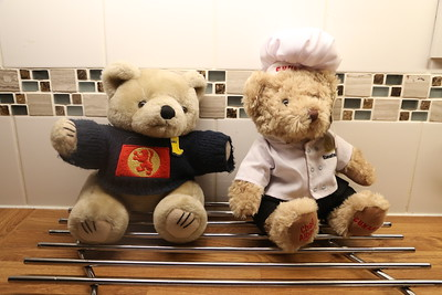 CalMac discusses catering arrangements with his new chum Executive Chef Albert who used to work for Cunard