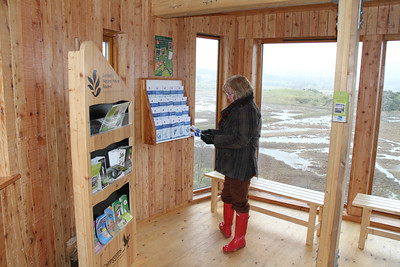 RSPB Insh Marshes., The boss peruses some leaflets.