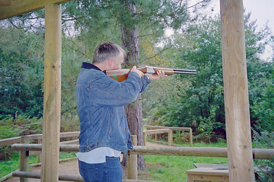 Center Parcs Sherwood Laser Clays - Jayne has snapped me as I shoot my way to what I was told by the event leader was the highest ever score by a guest of just over 200.  Chuffed.