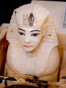Tutankhamun canopic jar; these jars contained the organs removed from the body during mummification.