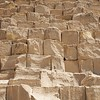 Detail of Great Pyramid. Note the moss-like spongy appearance of the top of many blocks.