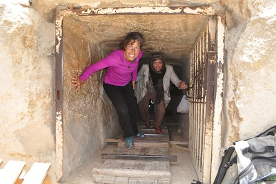 Monika and I climb out of the Cheops' mother's tomb.