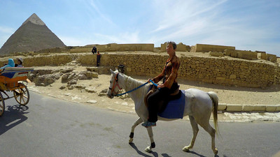 The owner of the Magical House Air BnB where I stayed outside of Cairo for 5 days, Mohamed, invited me to join his family for a horse ride to the pyramids.
