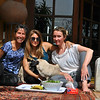 Enjoying a beautiful fresh lunch with Monika and her flatmate Chloe, and pugs Candy and Chiquita.