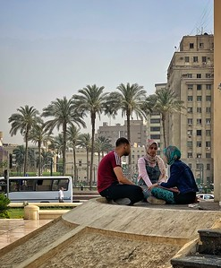 Students in Cairo's famous Tahrir Square